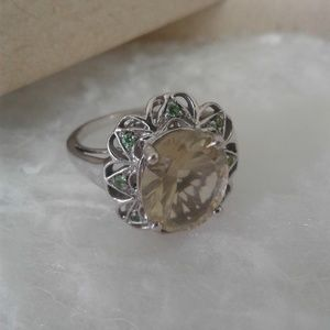 Platinum over Sterling Silver Ring, Size 7